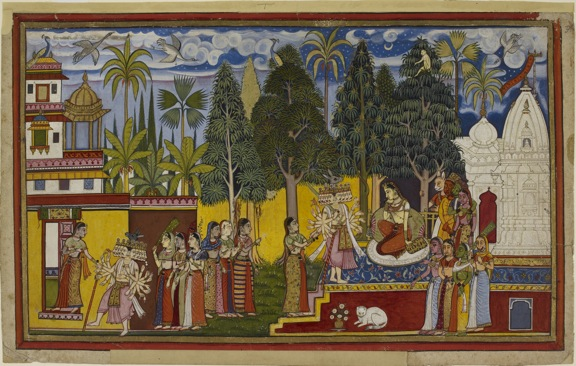 Hanuman observes Ravana's interview with Sita, c. 1653. British Library, IO San 3621, f.3