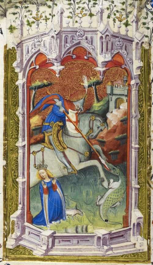 A detail from the Beaufort or Beauchamp Hours, showing an illustration of St George and the dragon.