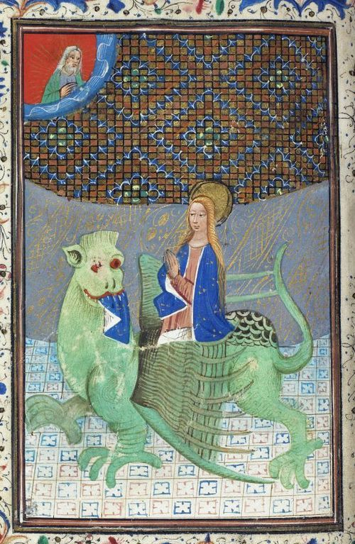 A detail from a 15th-century Book of Hours, showing an illustration of St Margaret emerging from the side of a dragon.