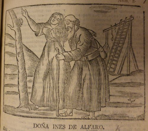 Woodcut of Ines Alfaro with a hermit and a gallows in the background