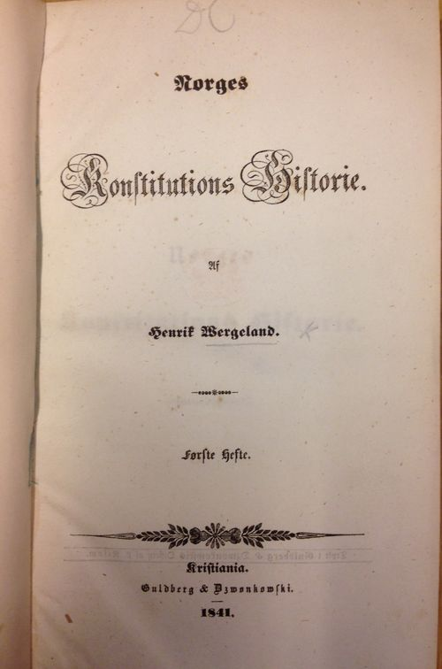 Title-page of 'Norges Konstitutions Historie'