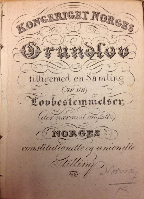 Cover of an 1837 edition of Norway's Constitution with decorative typeface