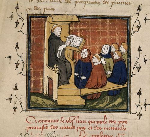 A detail from a 15th-century manuscript, showing a scribe with a group of pupils.