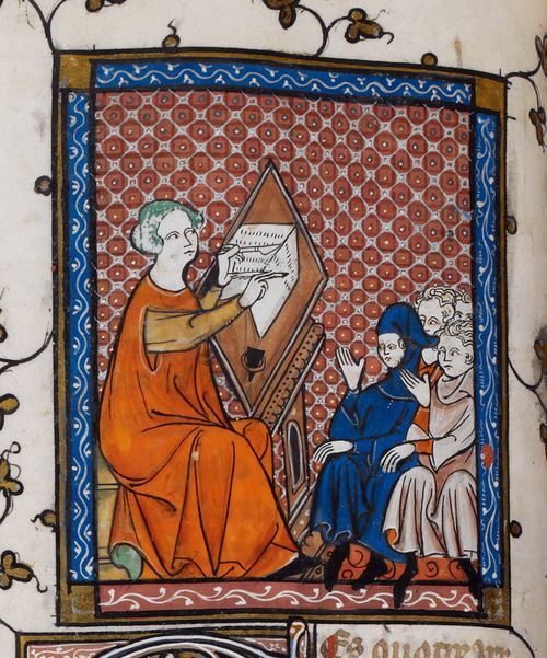 A detail from a 14th-century manuscript, showing an illustration of Prudence writing before her pupils.