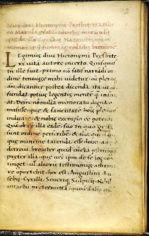 Manuscript page of 'Vita Divi Hieronymi'