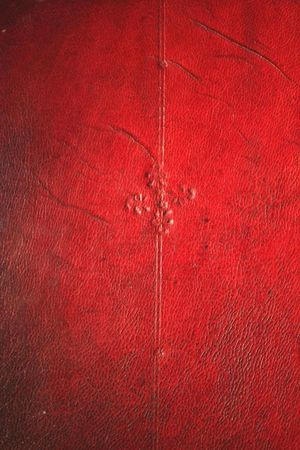 A detail of a section of board decoration, stamped onto red leather. The leather is darkened by dirt and has diagonal scratches running downwards from left to right. A double line runs vertically down the leather. At the top of the line is a five-petalled flower. In the middle of the line is diamond motif consisting of four shamrock shapes with a five-petalled flower in the centre. At the bottom of the line is a a five-petalled flower.