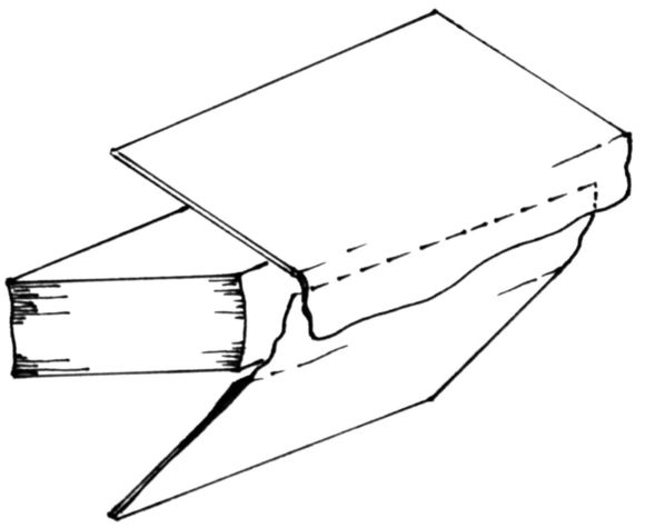 A diagram showing that both boards are attached to the book by the overlapping pieces of leather on the spine.