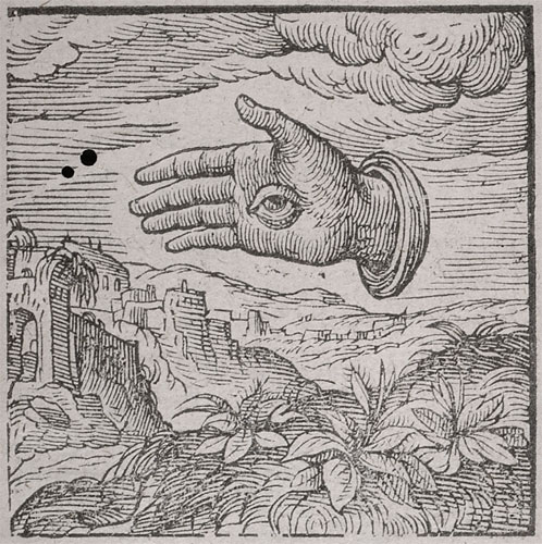 Woodcut of a hand with an eye hovering over a landscape