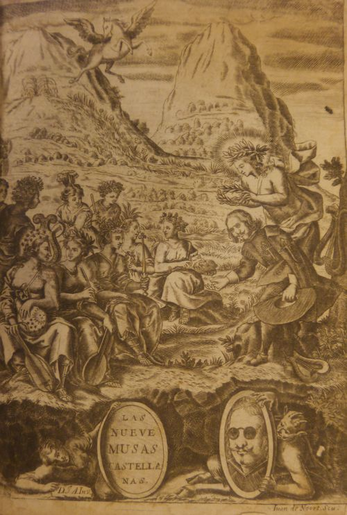 Engraving of Quevedo crowned by the Muses in a mountain landscape, with a separate portrait of Quevedo below being held up by a satyr