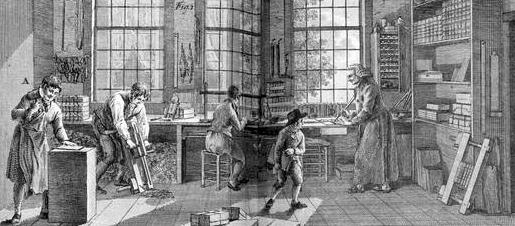 This engraving shows the goings-on at a bookbinding workshop. Five workers are present, doing various tasks related to bookbinding.