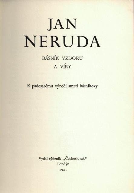 Cover of 'Jan Neruda: básník vzdoru a víry'