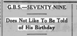 Article from Sunderland Daily Echo and Shipping Gazette 26 July 1935 about Shaw wanting to forget his birthday
