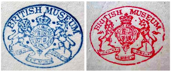 Two British Museum stamps: one in blue and one in red. The stamp features a circular crest in the middle with a crown on top. On the left side of the crest is a lion and on the right side is a unicorn. Below the crest and animals is a banner and above is text which reads BRITISH MUSEUM.