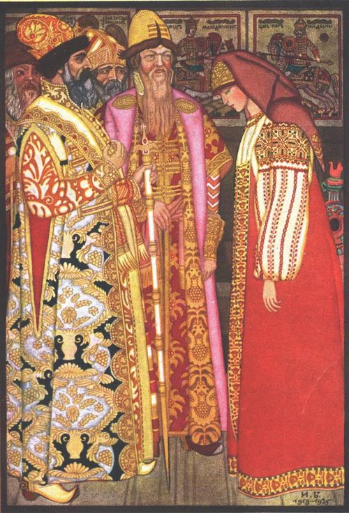Coloured illustration of two men and a woman in elaborately-decorated traditional Russian costumes