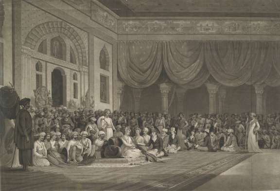 A Representation for the Delivery of the Ratified Treaty of 1790 by Sir Charles Warre Malet Bart to His Highness Soneae Madarou Peshwa.  Aquatint by Charles Turner after Thomas Daniell, 1807.  63 x 89,6 cm.  K.Top.CXV 59-1-c.