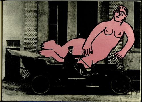 Marinetti in a car in front of a large image of Larionov's painting 'Venus'