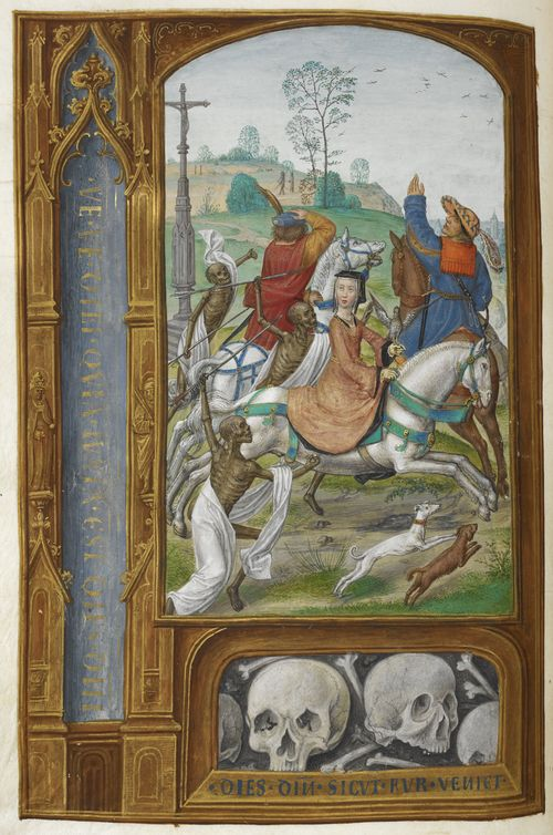 An illustration of the Three Living and the Three Dead, from the Hours of Joanna I of Castile.