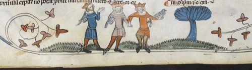 A marginal illustration of the Three Living, from the Smithfield Decretals.