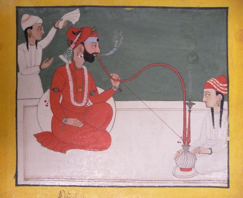 Raja Shamsher Sen of Mandi (reg. 1727-81) enjoying a smoke. By a Mandi artist, 1760-70. 180 by 207 mm. Add.Or.5600, acquired 2006. From the collection of W.G. and Mildred Archer (1967, no. 30).