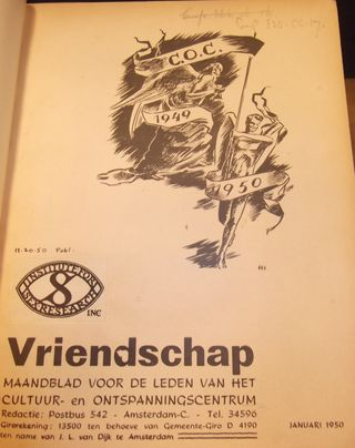 Cover opf 'Vriendschap' from 1950 with an image of a man running with a banner