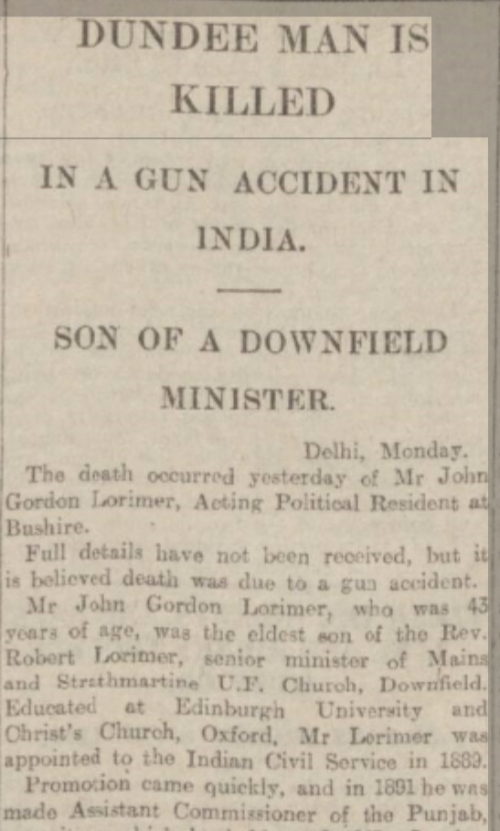 Report of Lorimer's death in Dundee newspaper