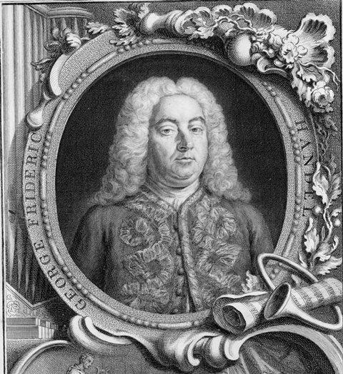 Portrait of Handel in a decorative border