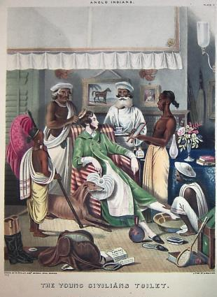 Young civilian's toilet - European man being tended to by Indian servants