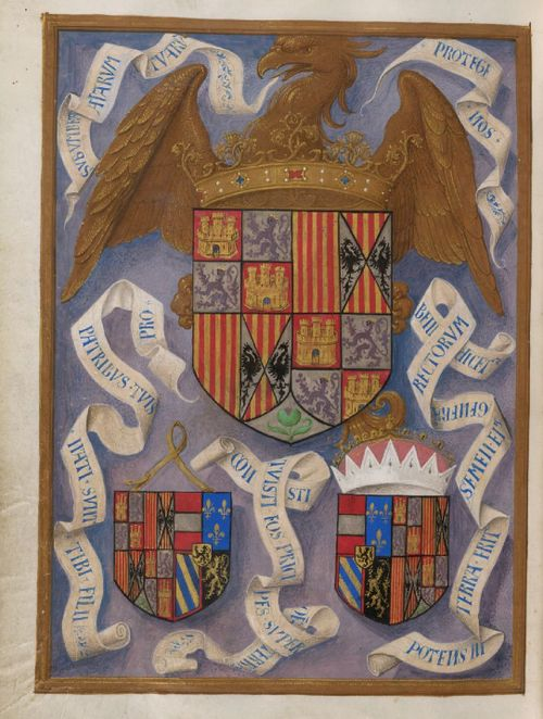 A page from the Isabella Breviary, showing a number of coats of arms relating to Ferdinand and Isabella and their families.