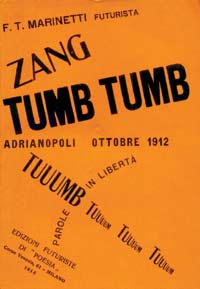 Cover of 'Zang Tumb Tumb' with experimental typography