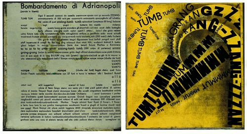 Text of 'Bombrdamento di Adrianapoli' and illustration using words and typography to create an image
