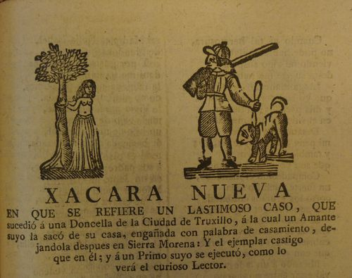 Page from a chapbook with woodcuts of a woman tied to a tree and a man with a gun and dog