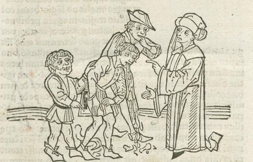 Woodcut of a man vomiting and defecating
