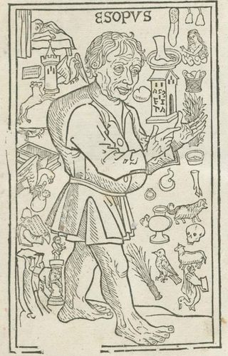 Woodcut illustration of Aesop surrounded by images and symbols from his fables