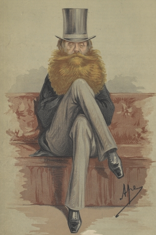 Caricature of 5th Earl Spencer with a very long beard