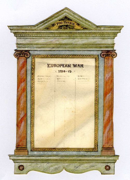 Design for World War I memorial Pro Patria