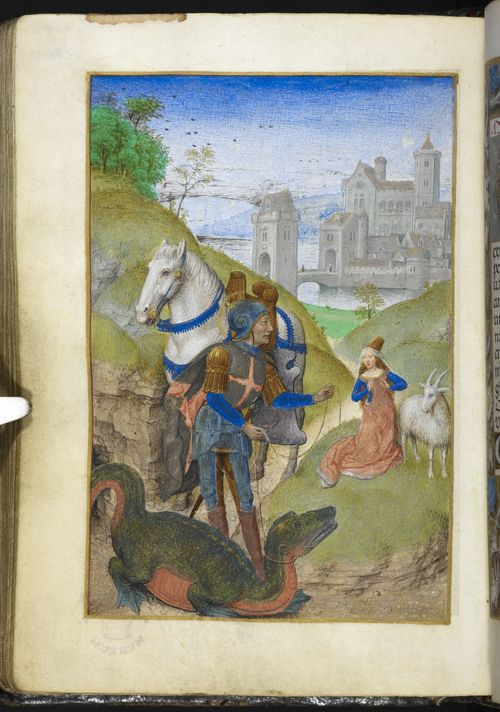 A page from the Huth Hours, showing an illustration of St George and the dragon.