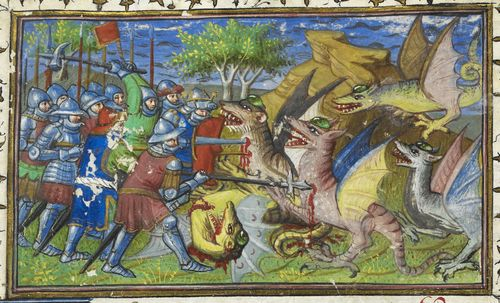 A detail from a 15th-century manuscript, showing an illustration of Alexander the Great and his army fighting dragons.
