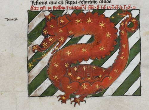 A detail from an astrological miscellany, showing an illustration of the constellation Draco.