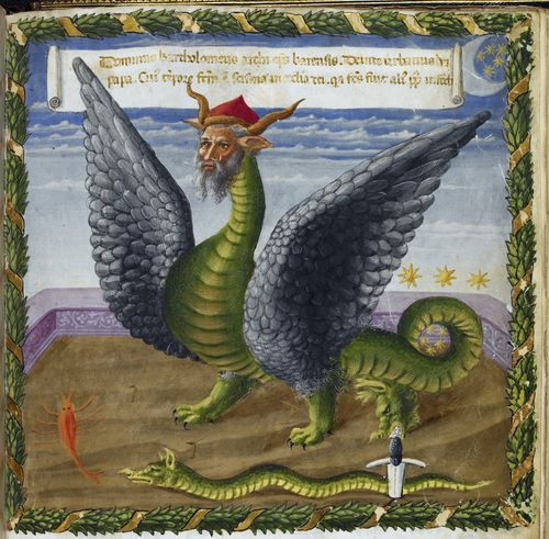 A page from a 15th-century manuscript, showing an illustration of a Satanic dragon with a human head.