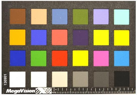 """A rectangular piece of black card with 24 squares cut out of it is laid over 24 squares of bright colour. The squares are laid out horizontally in four rows of six. A measurement scale in centimetres and millimetres runs along the bottom edge of the black card, to the right of the word """"MegaVision"""" printed in white, and a small white rectangle filled with a combination of lines and numbers. The serial number 130901 runs vertically up the left edge of the card."""