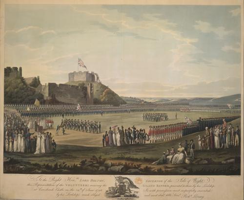 Volunteers receiving the island banner at Carisbrooke Castle 24 June 1798