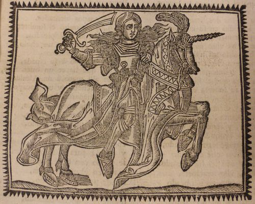 Woodcut of a woman in armour, on an armoured horse, brandishing a sword