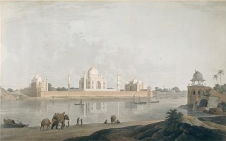 A distant view of the Taj Mahal, Agra