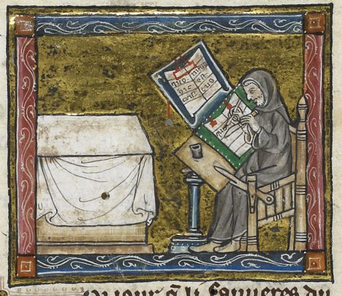 A detail from a 14th-century manuscript, showing an illustration of a hermit writing.