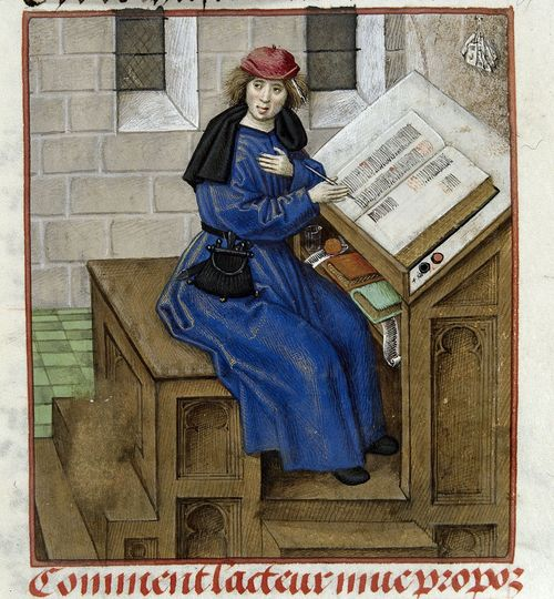 A detail from a manuscript of the Roman de la Rose, showing an illustration of one of the text's authors writing at a desk.