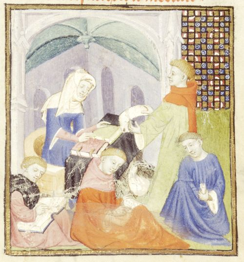 An illustration of a scriptorium, from a manuscript of Christine de Pizan's Book of the Queen.