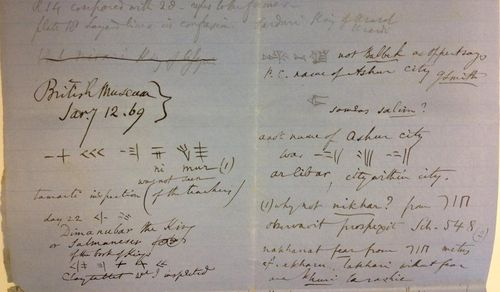 Detail of notes made of an inscription in the British Museum, 12 January 1869