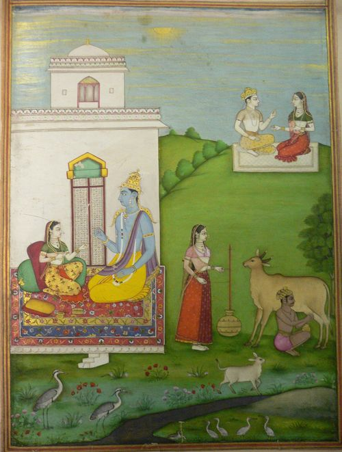 Madhya adhira nayika, the plain speaking experienced heroine (Rasikapriya 3, 48).  340 x 250 mm. Deccan, perhaps Aurangabad, 1720-30. British Library, Add.21475, f.8