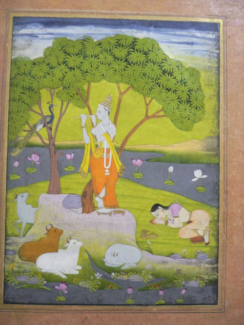 Krishna, a peacock, cows and a devotee.  Hyderabad, c. 1770.  British Library, J.45,39