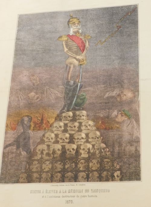 Wilhelm I of Germany depicted as a skeleton standing on a heap of skulls